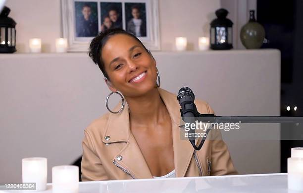 "In this screengrab Alicia Keys performs during Saving Our Selves A BET COVID19 Effort airing on April 22 2020 ""Saving Our Selves A BET COVID19 Relief..."