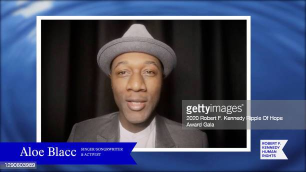 In this screengrab, Aloe Blacc speaks at the 52nd annual Robert F. Kennedy Ripple of Hope Award gala, honoring courageous human rights defenders on...