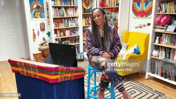 In this screengrab, Amanda Seales is seen during the 2020 BET Awards Pre-Show. The 20th annual BET Awards, which aired June 28 was held virtually due...