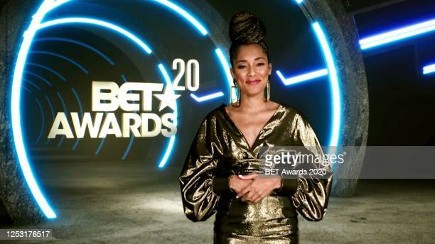 In this screengrab Amanda Seales is seen during the 2020 BET Awards The 20th annual BET Awards which aired June 28 was held virtually due to...