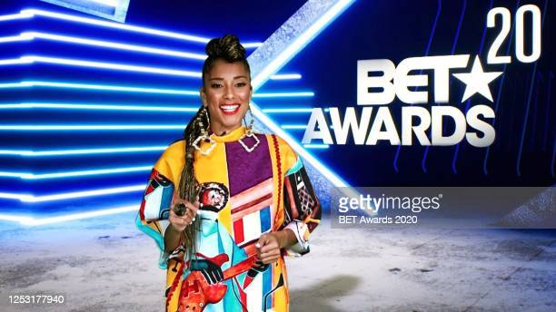 In this screengrab, Amanda Seales is seen during the 2020 BET Awards. The 20th annual BET Awards, which aired June 28 was held virtually due to...