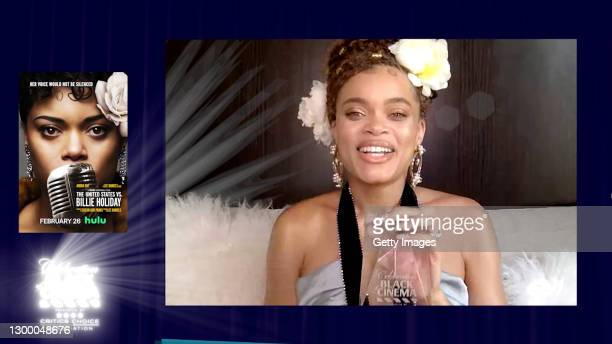 In this screengrab, Andra Day accepts the Special Honoree Award at the Critics Choice Association's Third Annual Celebration of Black Cinema on...