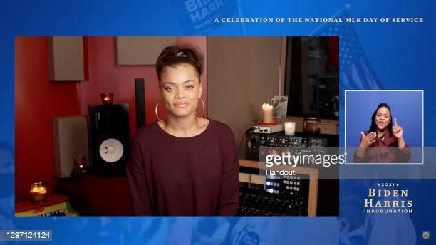 """In this screengrab, Andra Day performs during the """"United We Serve"""" a celebration of the national MLK Day of Service on January 18, 2021. The event..."""