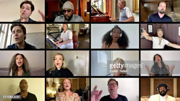 In this screengrab, Andrew Lloyd Webber, Danny O'Donoghue, Gary Barlow, Gregory Porter, Jason Donovan, Katherine Jenkins, Leona Lewis, Liam Payne,...