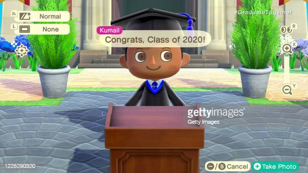 In this screengrab, Animal Crossing characters speak during Graduate Together: America Honors the High School Class of 2020 on May 16, 2020.