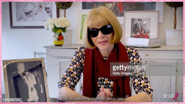In this screengrab, Anna Wintour speaks during the Breast Cancer Research Foundation Virtual Palm Beach Hot Pink Luncheon & Symposium 2021 on...