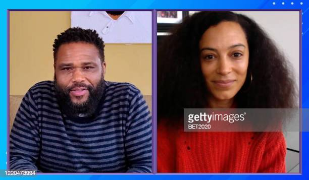 """In this screengrab Anthony Anderson introduces Angela Rye during Saving Our Selves A BET COVID19 Effort airing on April 22 2020 """"Saving Our Selves A..."""