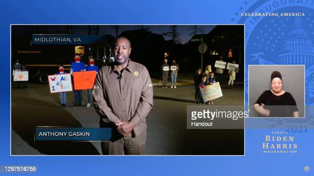 In this screengrab, Anthony Gaskin speaks during the Celebrating America Primetime Special on January 20, 2021. The livestream event hosted by Tom...