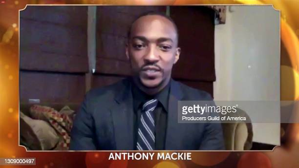 In this screengrab, Anthony Mackie speaks during the 32nd Annual Producers Guild Awards on March 24, 2021.