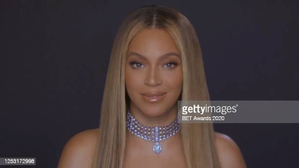 In this screengrab, Beyoncé is seen during the 2020 BET Awards. The 20th annual BET Awards, which aired June 28 was held virtually due to...