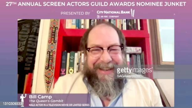 In this screengrab, Bill Camp of The Queen's Gambit speaks during the press junket for the 27th Annual Screen Actors Guild Awards on April 01, 2021.