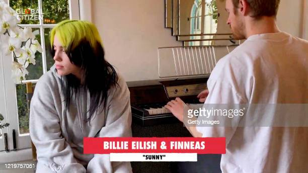 In this screengrab Billie Eilish and Finneas O'Connell perform during One World Together At Home presented by Global Citizen on April 2020 The global...