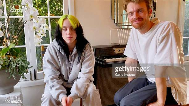 "In this screengrab, Billie Eilish and Finneas O'Connell perform during ""One World: Together At Home"" presented by Global Citizen on April 2020. The..."