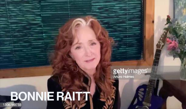 In this screengrab, Bonnie Raitt attends MusiCares: Music On A Mission Online Celebration and Fundraiser during the 63rd Annual GRAMMY Awards on...