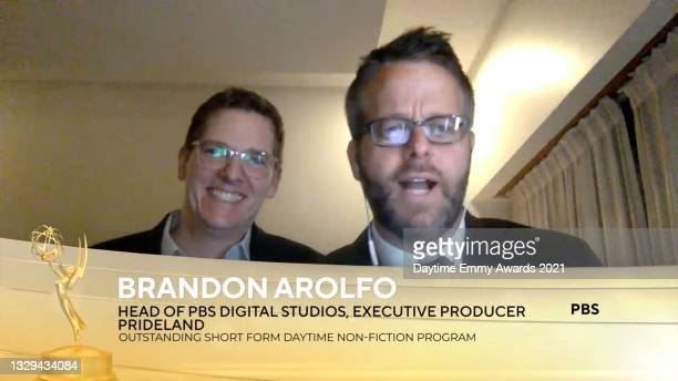 """In this screengrab, Brandon Aroflo accepts the award for Outstanding Short Form Daytime Non-Fiction Program for """"Prideland"""" during the 48th Annual..."""
