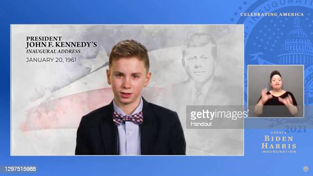 In this screengrab, Brayden Harrington speaks during the Celebrating America Primetime Special on January 20, 2021. The livestream event hosted by...