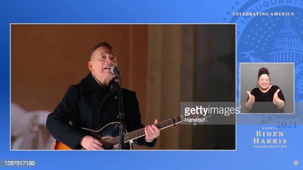 In this screengrab, Bruce Springsteen performs during the Celebrating America Primetime Special on January 20, 2021. The livestream event hosted by...