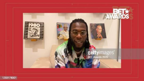 In this screengrab, Burna Boy is seen during the 2020 BET Awards. The 20th annual BET Awards, which aired June 28 was held virtually due to...