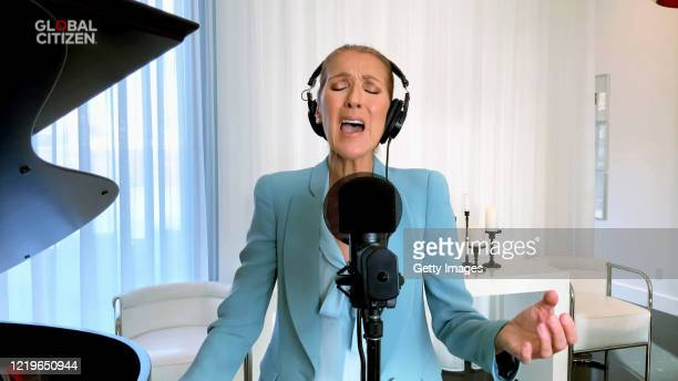 """In this screengrab, Celine Dion performs during """"One World: Together At Home"""" presented by Global Citizen on April 2020. The global broadcast and..."""