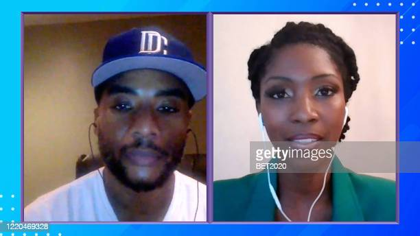 "In this screengrab Charlamagne Tha God and Rheeda Walker speak during Saving Our Selves A BET COVID19 Effort airing on April 22 2020 ""Saving Our..."