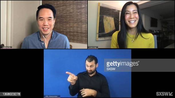 In this screengrab, Charles Yu and Lisa Ling speak at Keynote: Charles Yu in Conversation with Lisa Ling during SXSW Online on March 19, 2021.