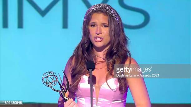 """In this screengrab, Chiara D'Ambrosio accepts the award for Outstanding Younger Performer in a Daytime Fiction Program for """"The Bay"""" during the 48th..."""