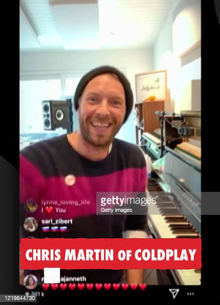 In this screengrab Chris Martin performs during One World Together At Home presented by Global Citizen on April 2020 The global broadcast and digital...