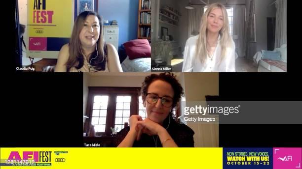 In this screengrab, Claudia Puig, AFI FEST Senior Programmer, Sienna Miller, and Tara Miele speak at the screening of WANDER DARKLY at AFI FEST...
