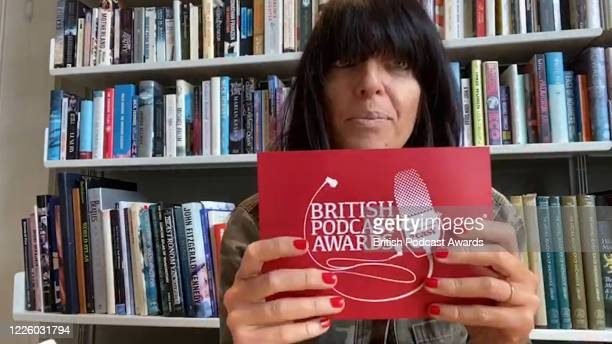 "In this screengrab Claudia Winkleman presents the Acast ""Moment of the Year"" award to Tunnel 29 during the 2020 British Podcast Awards on July 11,..."