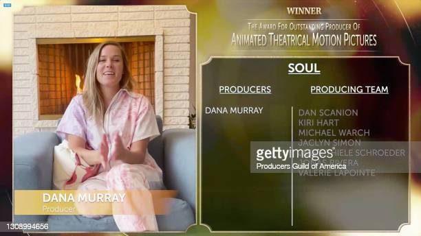 In this screengrab, Dana Murray accepts the Outstanding Producer of Animated Theatrical Motion Pictures Award during the 32nd Annual Producers Guild...