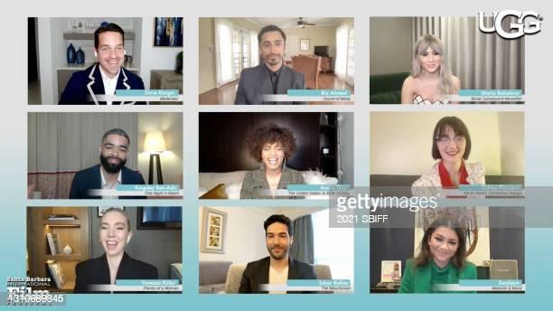 In this screengrab, Dave Karger presents the Virtuosos Award to Riz Ahmed, Maria Bakalova, Sidney Flanigan, Zendaya, Tahar Rahim, Vanessa Kirby,...