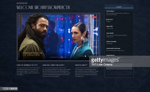 In this screengrab Daveed Diggs as 'Andre Layton' and Jennifer Connelly as 'Melanie Cavill' during TNT's Snowpiercer Virtual Premiere on May 14 2020...