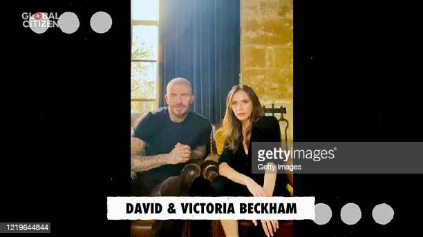 In this screengrab David Beckham and Victoria Beckham speak during One World Together At Home presented by Global Citizen on April 2020 The global...