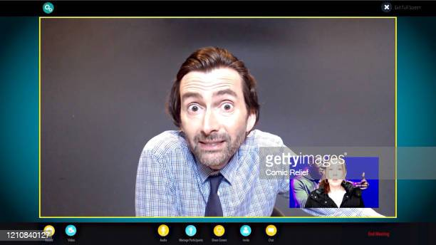 In this screengrab David Tennant and Catherine Tate take part in the BBC Children In Need and Comic Relief 'Big Night In at London on April 23 2020...