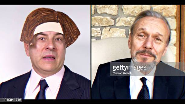 In this screengrab David Walliams and Anthony Stewart take part in the BBC Children In Need and Comic Relief 'Big Night In at London on April 23 2020...