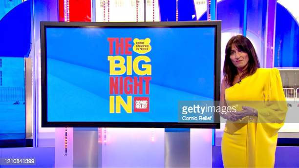 In this screengrab, Davina McCall takes part in the BBC Children In Need and Comic Relief 'Big Night In at London on April 23, 2020 in London,...