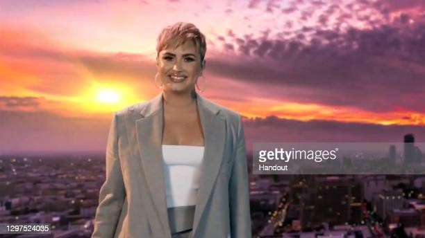 In this screengrab, Demi Lovato performs during the Celebrating America Primetime Special on January 20, 2021. The livestream event hosted by Tom...