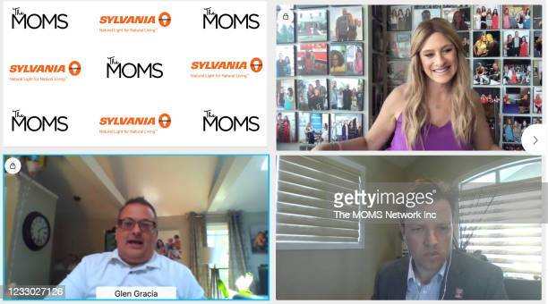 In this screengrab, Denise Albert, Glen Gracia and Chris Ide participate in Virtual Mamarazzi Event for the release of Andrew McCarthy's new memoir...