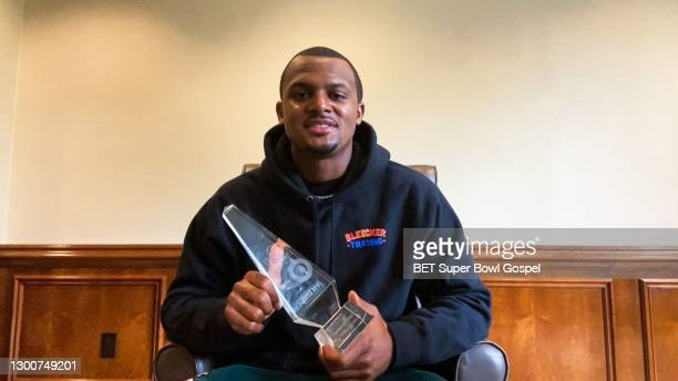 In this screengrab, Deshaun Watson accepts an award during the 22nd Annual Super Bowl Gospel Celebration on February 06, 2021.