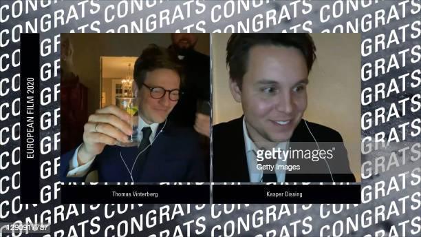 In this screengrab, Director Thomas Vinterberg and producer Kasper Dissing celebrate winning Best European Film 2020 during the 33rd European Film...