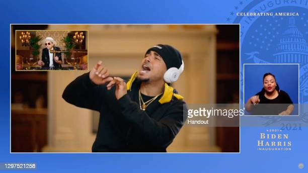 In this screengrab, DJ Cassidy and Ozuna perform during the Celebrating America Primetime Special on January 20, 2021. The livestream event hosted by...