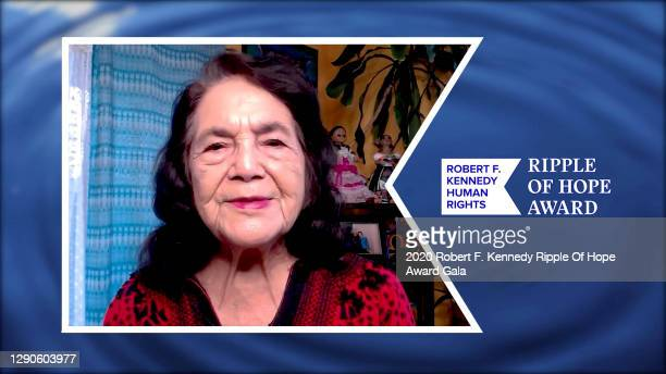 In this screengrab, Dolores Huerta accepts the Ripple of Hope Award at the 52nd annual Robert F. Kennedy Ripple of Hope Award gala, honoring...