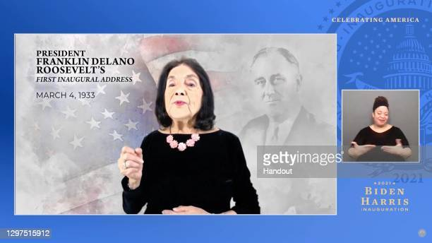 In this screengrab, Dolores Huerta speaks during the Celebrating America Primetime Special on January 20, 2021. The livestream event hosted by Tom...