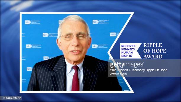 In this screengrab, Dr. Anthony Fauci accepts the Ripple of Hope Award at the 52nd annual Robert F. Kennedy Ripple of Hope Award gala, honoring...