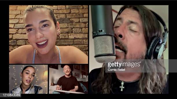 In this screengrab Dua Lipa Dave Grohl of Foo Fighters Grace Carter and Ben Johnston of Biffy Clyro take part in the BBC Children In Need and Comic...