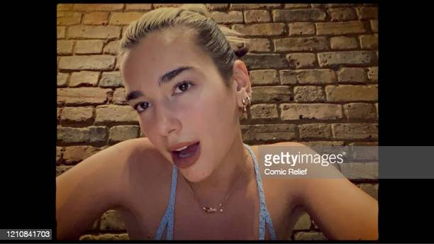 In this screengrab Dua Lipa takes part in the BBC Children In Need and Comic Relief 'Big Night In at London on April 23 2020 in London EnglandThe...