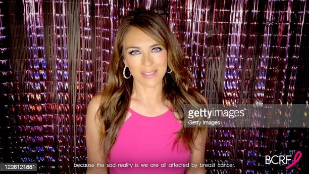 In this screengrab, Elizabeth Hurley speaks during the Breast Cancer Research Foundation Virtual Hot Pink Evening on May 20, 2020.