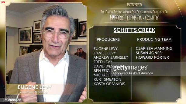 In this screengrab, Eugene Levy accepts the Danny Thomas Award for Outstanding Producer of Episodic Television - Comedy during the 32nd Annual...