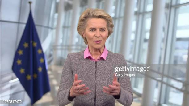 In this screengrab, European Commission President Ursula von der Leyen speaks as part of SWITCH GREEN during day 1 of the Greentech Festival at...