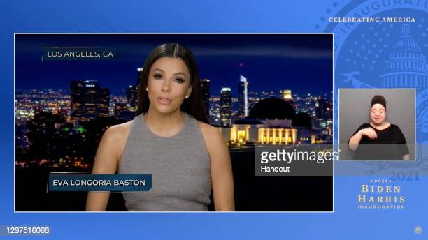 In this screengrab, Eva Longoria Bastón speaks during the Celebrating America Primetime Special on January 20, 2021. The livestream event hosted by...